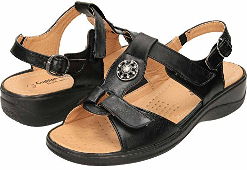 Open Comfort Wedge Cushion Toe Black Slingback Sandals Walk qx1xwCBnPI