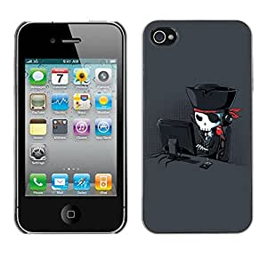 LASTONE PHONE CASE / Carcasa Funda Prima Delgada SLIM Casa Carcasa Funda Case Bandera Cover Armor Shell para Apple Iphone 4 / 4S / Funny Cool Internet Pirate