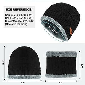 Beanie Hat Scarf Set Winter Warm Fleece Lined Skull Cap and Scarf for Men Women