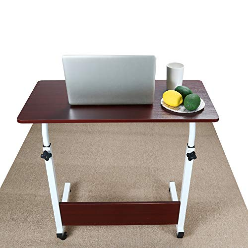 (Mobile Stand Computer Workstation,Sixpi Adjustable Laptop Computer Desk Cart for Writing Table, Meeting Desk, Study Table (Brown))