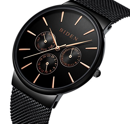Mens Watches Men Waterproof Casual Mesh Black Wrist Watch Day Date Calendar Luxury Quartz Watches for (Mens Calendar Day Date Watch)