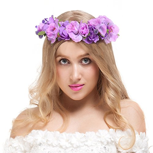 Valdler Exquisite Camellia Berries Flower Crown with Adjustable