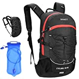 DOACT Hydration Backpack, 23L Cycling Backpack with 2L BPA Free Leak Proof Hydration Bladder and Waterproof Rain Cover, Steel Frame Ventilation Design Perfect for Hiking Biking, Climbing - Black