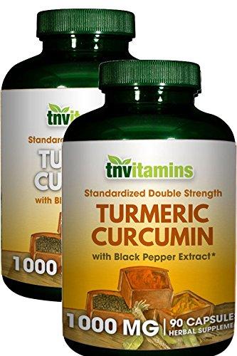 TNVitamins Turmeric Curcumin 1000 Mg with Black Pepper (2 x 90 Capsules)