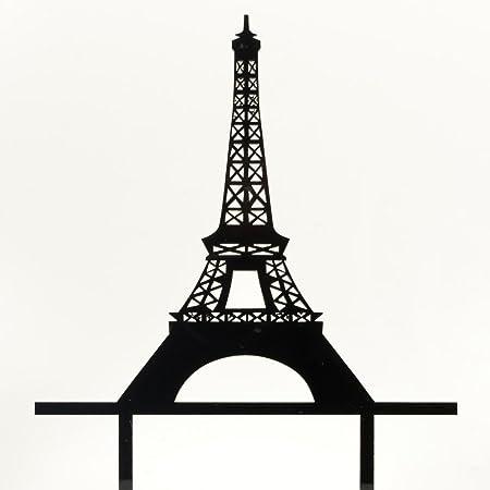 Romantic Paris Eiffel Tower Cake Topper Wedding Birthday Acrylic