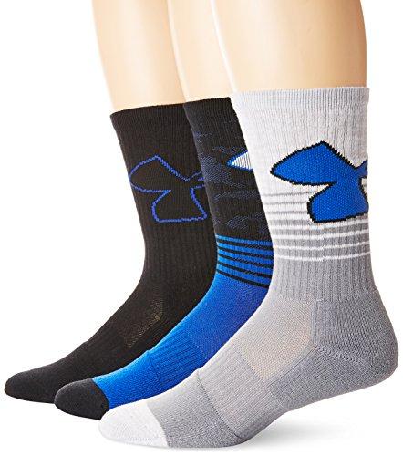 Under Armour Men's Phenom 2.0 Crew Socks (3 Pack), Blue Marker, Large
