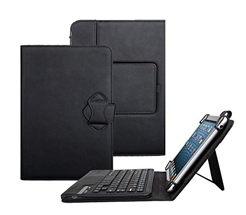 Galaxy Tab 2 10.1-Inch Case with Keyboard - Tsmine Universal 2-in-1 Detachable Wireless Bluetooth Keyboard [QWERTY] w/ Folio Leather Case Stand Cover [NOT include Tablet], Black