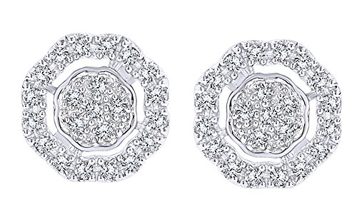 Round Cut White Real Diamond Hip Hop Cluster Stud Earrings 10K Solid White Gold (0.28 Cttw) by Wishrocks