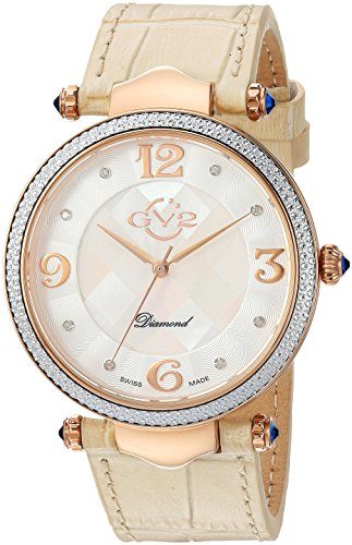 GV2-by-Gevril-Womens-Sassari-Swiss-Quartz-Stainless-Steel-and-Leather-Casual-Watch-ColorBeige-Model-1004