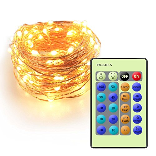 Cellay LED String Lights, 33FT Copper Wire Lights with Remote Control, 100 LED Warm White Lights For Outdoor & Indoor