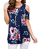 PrinStory Women's Summer Cold Shoulder Tunic Top Swing T-Shirt Loose Dress with Pockets Floral Print Navy Blue L