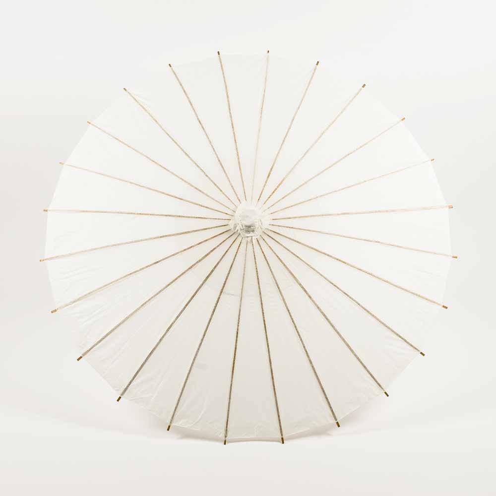 Quasimoon PaperLanternStore.com Bulk CASE 32 Inch White Paper Parasol Umbrellas (10 Pack)