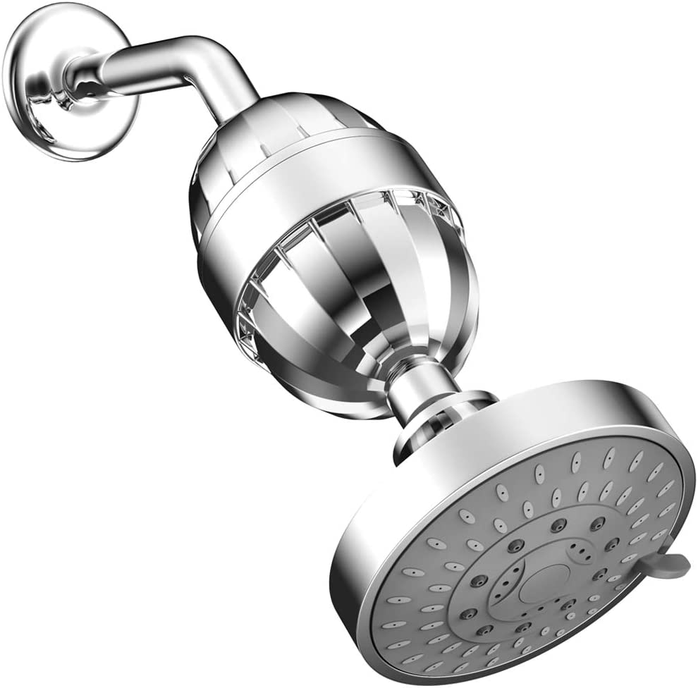ESOW High Output Shower Head with Multi-Stage Shower Filter, Hard Water Filter Removes Chlorine Fluoride Lead & Other Sediments, Vitamin C Included to Improve Skin Dryness, Hair and Nails