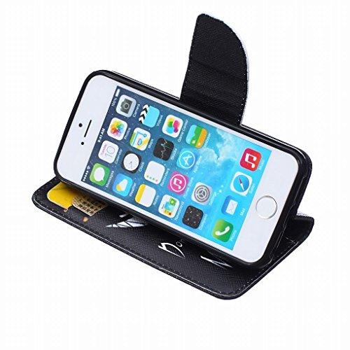 LEMORRY iphone 5 5S Flip Etui Housse, [Double Imprimé] Personnalité Cool Durable Soft TPU Coque + PU Cuir Portefeuille Cards Stand Magnétique Sangle Flexible Skin Protecteur