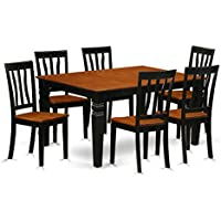 East West Furniture Weston WEAN7-BCH-W 7 Pc Set Table and 6 Wood Kitchen Chairs, Black