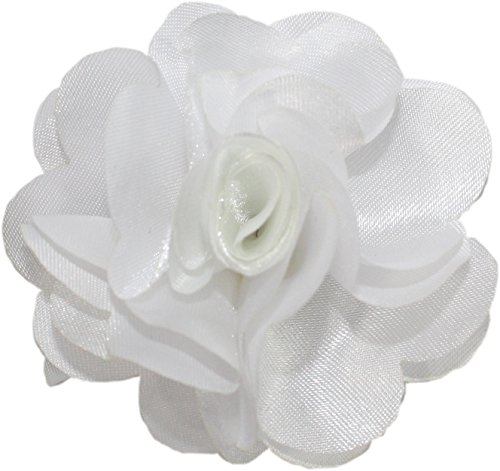 - Ted and Jack - Solid Silky Classic Flower Lapel Pin Boutonniere in Bright White
