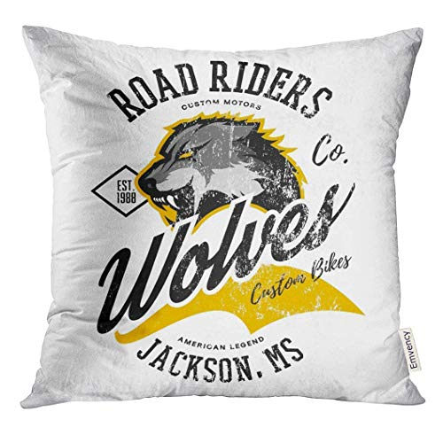 Rng Big Throw Pillow Cover Vintage American Wolf