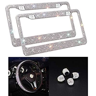 Carfond 2 Pack Handcrafted 1000+ pcs Finest 14 Facets SS20 Premium Crystal Waterproof Stainless Steel License Plate Frame Anti-Theft Screws Caps (Silver+Silver Steering Wheel Cover+Silver Valve caps): Automotive