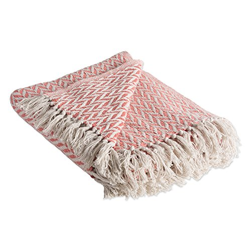 (DII Rustic Farmhouse Cotton Zig-Zag Blanket Throw with Fringe For Chair, Couch, Picnic, Camping, Beach, & Everyday Use , 50 x 60