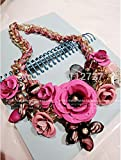 Anzona New Sweet Big Fresh Flower Necklace Individuality Short Jewelry Sweater Chain Eggerated Female Chain Dress Accessories
