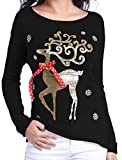 v28 Women Christmas Sweater, Ugly Cute Deer Vintage Knit Xmas Pullover Sweater (S, Celebrate Navy)