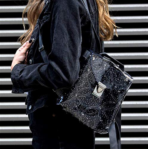 Trendy Mini Backpack Purse for Women, Black and Silver Glitter and White Floral Small Women's Versatile Everyday Backpack, Holiday Gift for Her ()