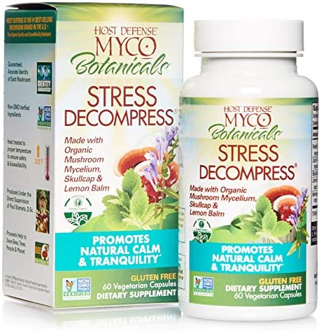 Host Defense, MycoBotanicals Stress Decompress, Promotes Natural Calm and Tranquility, Daily Mushrooms and Herb Supplement, Vegan, Organic, 60 Capsules 30 Servings