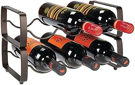 DISEÑO APILABLE: Estos botelleros de vino tienen capacidad para tres botellas y vienen en un práctic