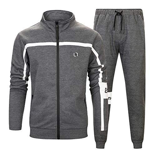 MANLUODANNI Men's Athletic Full Zip Fleece Tracksuit Sports Sets Casual Sweat Suit Dark Gray L ()