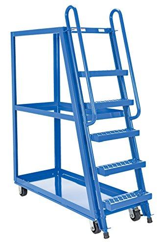 Vestil SPS-HF-2252 Hi-Frame Stockpicker Trucks, Steel, 1000 lbs Capacity, overall W x L x H (in.) 21-7/8 x 56-1/8 x 73-1/8, bottom shelf width/length (in.) 21-1/2 x 50-3/4, top shelf height (in.) 65-13/16, step spacing (in.) 10, 3 Shelves (Stock Trucks Picking)