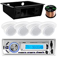 Pyle PLMR21BT Marine Boat USB/SD/MP3 Bluetooth Stereo Receiver Bundle Combo With 4x Magnadyne 3 White Ceiling/Wall Mount RV Home Speaker + Metra Universal Underdash DIN Kit + Enrock 50Ft Speaker Wire
