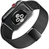 For Apple Watch Band , 42mm Smooth Stainless Steel Strap Freely Fully Magnetic Closure Clasp Metal Strap Wrist Band Replacement Bracelet for IWatch Band Series 3 Series 2 Series 1 (black)