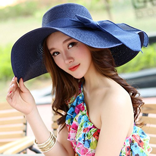 SUKO Women's Big Bowknot Straw Hat Wide Brim Cap Floppy Foldable Beach Straw Hats Sun Hat UPF 50+ Blue