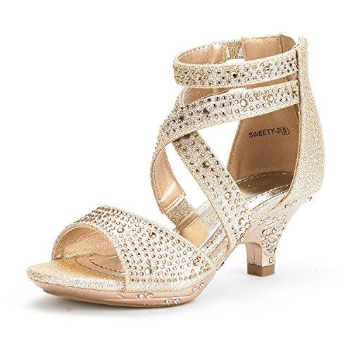 DREAM PAIRS Little Kid Sweety-2 Gold Low Heel Dress Pump Sandals - 12 M US Little (Dress Heel Shoe)