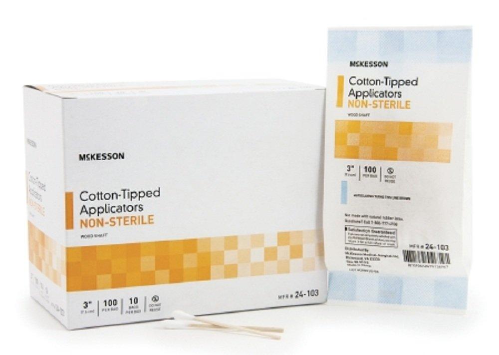 McKesson - Swabstick McKesson Cotton Tip Wood Shaft 6 Inch NonSterile 100 per Pack - 10000/Case - McK