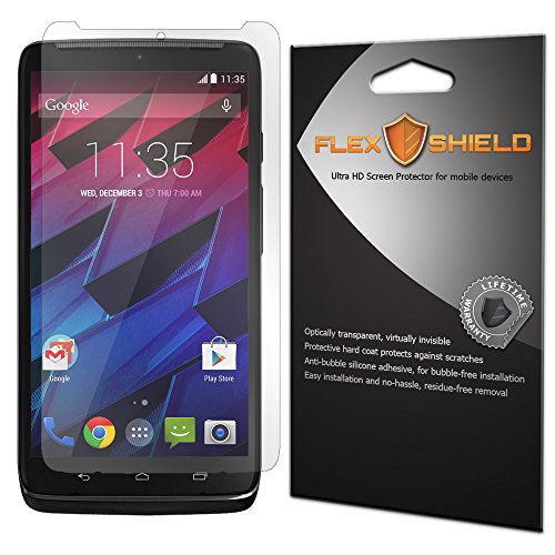 Motorola Droid Turbo 2 Screen Protector [5-Pack], Flex Shield - Ultra Clear Japanese PET Film with Lifetime Warranty - Bubble-Free HD Clarity with Anti-Fingerprint & Scratch Resistance