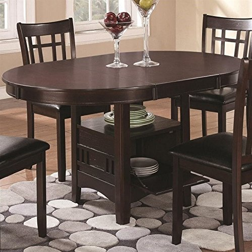 Wood Top Oval Extension Table (Coaster Home Furnishings Dining Table, Espresso)