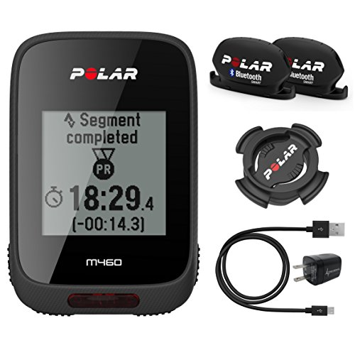 Polar M460 GPS Bike Computer with Polar Speed and Cadence Sensors and Wearable4U Wall Charging Adapter Bundle (Without Heart Rate Sensor) by Wearable4u
