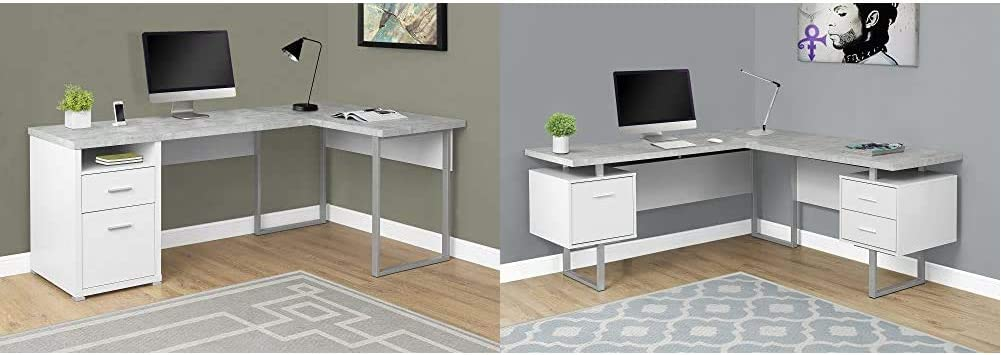 "Monarch Specialties Computer Desk Left or Right Facing White/Cement-Look 80"";L & Computer Desk Left or Right Facing White/Cement-Look 70"";L"