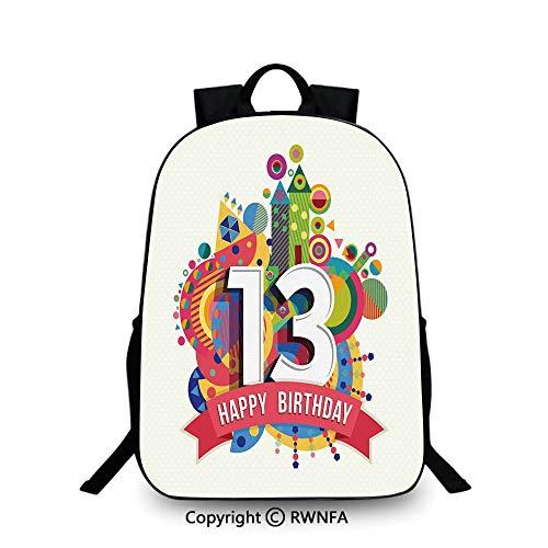 - Notebook computer schoolbag,Artistic Design Greeting Label Dots Geometric Vibrant Fun Graphic Travel College School Bags Multicolor