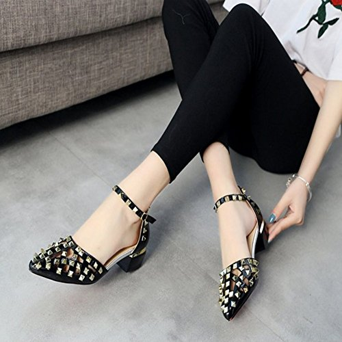 Girls Hollow Indoor Close Toe Outdoor Flat Black8 Out Dress Fashion on Slip JULY Women Rivets T Sandals Studded for Slippers XT05xwF