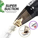 Car Vacuum Cleaner,4 in 1 Portable Handheld Wet/Dry ,DC 12V 100W 3800 Pa Suction HUANZHAN High Power Car Vacuum Cleaner,With Tire Inflator,Tire Pressure Gauge ,Floodlight - Upgraded(Matte Black )