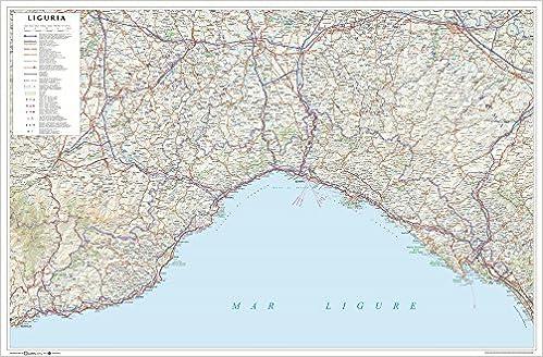 Cartina Turistica Liguria.Amazon It Liguria Carta Stradale Della Regione 1 250 000 Carta Murale Plastificata Stesa Con Aste Cm 96x63 Libri