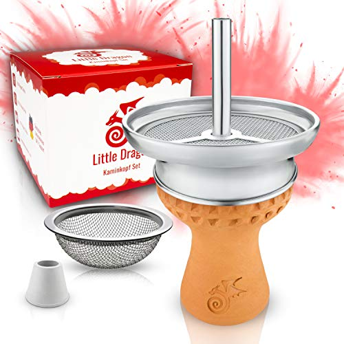 Little Dragon® Shisha Kopf Set – Hitzeoptimierter Handmade Voll-Tonkopf für dichten Rauch inkl. Kaminaufsatz + Shisha…