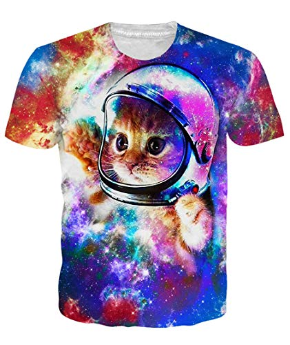 Loveternal Unisex 3D Cat T Shirts Graphics Print 90S Short Sleeve Funny Workout T Shirts Guy Animal Retro T Shirts Summer Cool Rock Top Dj Tees for Men Women