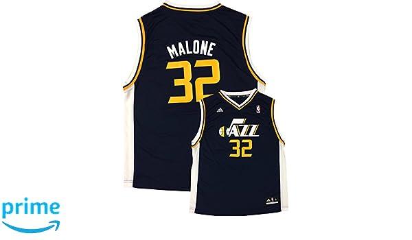Amazon.com  adidas Karl Malone Utah Jazz  32 Navy Youth Away Replica Jersey   Clothing 42c14340c