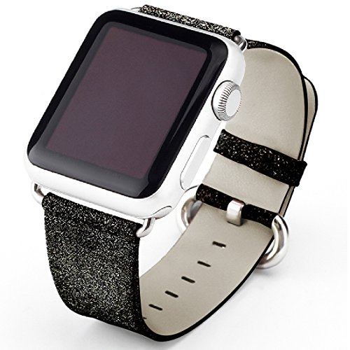 Price comparison product image Apple Watch Band,  iitee Glitter Bling Replacement Leather Bracelet for Apple Watch Series 3 Series 2 Series 1(42mm Black Band + Silver Connector)