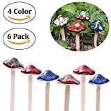 Ceramic Mushrooms Garden Decor,Garden Decor Mushrooms,Lawn Mushrooms Decor,Pack of 6