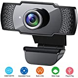 Webcam with Microphone, 1080P HD Streaming USB Computer Webcam [Plug and Play] [30fps] for PC Video Conferencing/Calling/Gaming, Laptop/Desktop Mac, Skype/YouTube/Zoom/Facetime(Yellow) (Black)