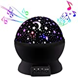 Musical Night Light,360 Rotating Star Lamp Baby Musical Lamp with Rechargeable Battery,12 Songs to Relax for Sleep Kids Babies Birthday Children Day Gift(Black with Music) (Black)